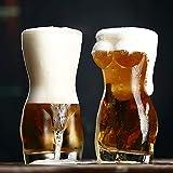 HCHD Señora Creativa 3D Atractiva de los Hombres Durable Doble Pared Transparente Vasos de Whisky Vino Vidrio de Tiro del Pecho Grande de Cerveza de 700 ml Copa Regalo de los Amantes