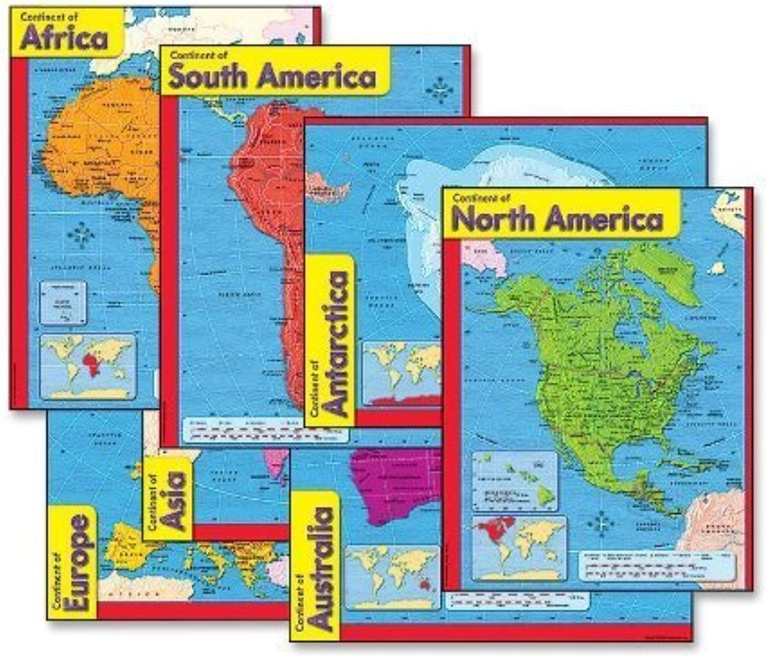 Trend Enterprises 38930 Continents Learning Charts, 17 in.x22 in., Multicolor by Trend Enterprises