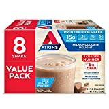 Atkins Milk Delight Protein-Rich Shake, Chocolate, 88 Fl Oz (Pack of 8)