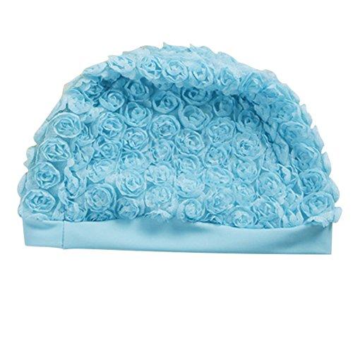 iKulilky Niños Flores Gorro Verano Nadar Tapa Flores bebé niña Natación Gorro de natación sombrero para mantener del pelo seco, color azul, tamaño talla única