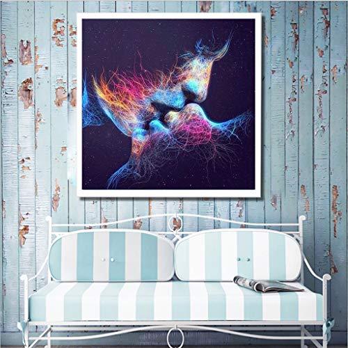 ToDIDAF 5D DIY Diamant Malerei Kreuzstich, Strass Eingeklebte Stickerei Gemälde, Dekoration für Zuhause Wohnzimmer - Vollbohrer (Kiss)