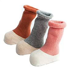 FQIAO Baby Socks Cute Cotton Thick Warm Soft Unisex Stretchable 3 Pack for Autumn Winter M Size 1-3 Year