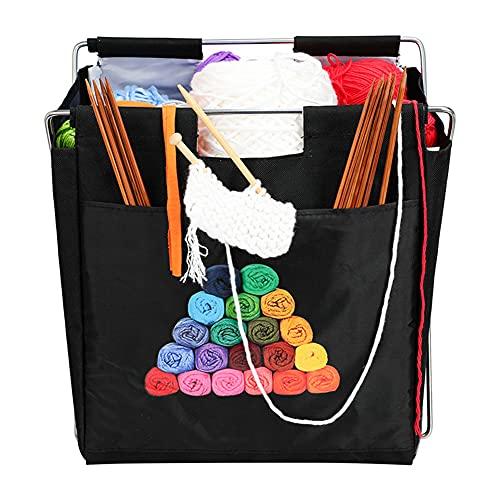 Xueliee Bolsa de almacenamiento de lana tejida para el hogar Almacenamiento diario Marco de hierro Bolsa de lana Bolsa de almacenamiento de hilo