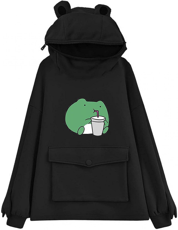 Masbird Hoodies for Women, Womens Cute Frog Print Anime Hoodies Long Sleeve Fashion Graphic Hoodies for Teen Girls