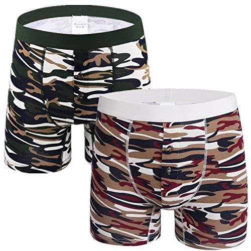 Willlly 2-delig pak heren camouflage basic chic casual boxershort lange pijpen katoen onderbroek troffel zacht comfort onderbroek open fly retroshorts