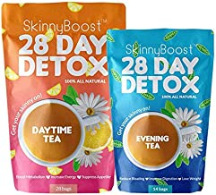 Skinny Boost 28 Day Detox Tea Kit-1 Daytime Tea (28 Bags) 1 Evening Detox Tea (14 Bags) Supports Detox & Cleanse-Non GMO, ...