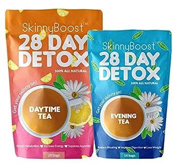 Skinny Boost 28 Day Detox Tea Kit-1 Daytime Tea  28 Bags  1 Evening Detox Tea  14 Bags  Non GMO Vegan All Natural Detox and Cleanse