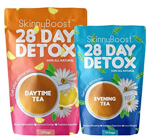 Skinny Boost 28 Day Detox Tea Kit-1 Daytime Tea (28 Bags) 1 Evening Detox Tea (14 Bags) Supports Detox & Cleanse-Non GMO, Vegan, All Natural