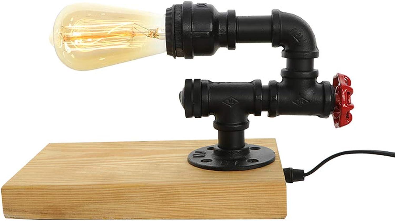 GYL LIGHTING Lámpara de Mesa Vintage, luz de Escritorio de Tubos de Agua de Hierro Industrial Retro para Mesa de Noche (Steampunk) VTL-179