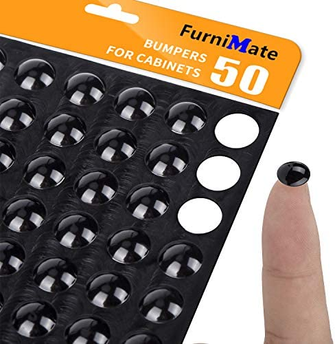 Black Rubber Feet Bumper Pads 10mm 50PCS Sound Dampening for Cabinet Doors Drawers Laptop Electronics product image