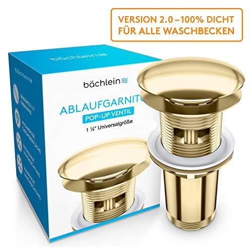 Bächlein Universal Ablaufgarnitur mit Überlauf für Waschbecken & Waschtisch - [PVD Gold] Pop Up Ventil – Ablaufventil Abflussgarnitur aus Messing - Einbau mit Anleitung werkzeuglos