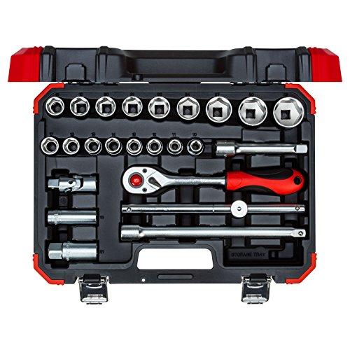 """GEDORE red Steckschlüsselsatz, 24-teilig, Mit Umschaltknarre, Ratsche, Steckschlüssel- und Zündkerzeneinsatz, 1/2"""""""