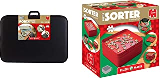 Jumbo 1039 Portapuzzle Deluxe 1000 (Jigsaw Puzzle Accessory) & Puzzle Mates Sorting Tray, Red