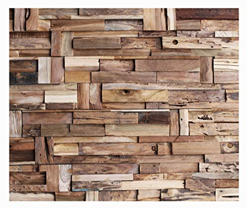 HO-M-014-1 Paneele Teak Wandverkleidung Holz Wandverblender Holz-Design Wand-Deko Wood Wall Panel - Fliesen Lager Verkauf Stein-mosaik Herne NRW