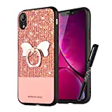 Tifightgo iPhone XR Case with Stand,Rose Gold Bling Shiny Rhinestone Soft TPU Silicone Case Protection Cover Bumper Case for iPhone XR with Bow Ring Bracket