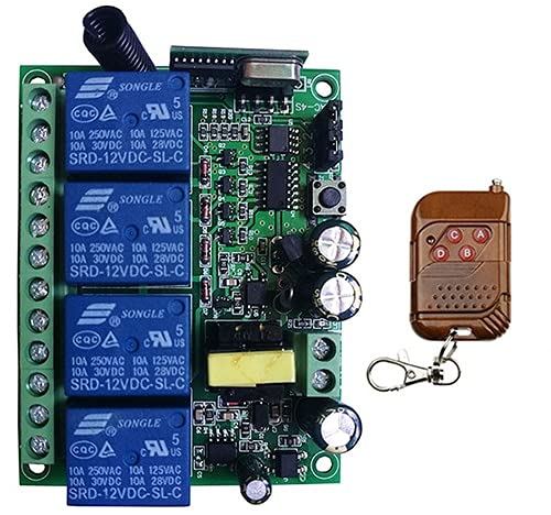 POQAQ AC110V 220V 230V 4CH 4 CH Interruptor de Control Remoto RF Transmisor Receptor inalámbrico 315/433 MHz Toggle/Latched/Momenty (Color : Blue, Size : 433MHZ)