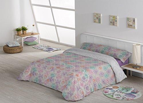 Stilia Parure de lit 3 pièces avec Housse de Couette et Drap-Housse élastique réglable, modèle Hansel, Rose, 180 x 240 cm, lit de 105 cm, Rose