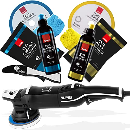 detailmate Rupes LHR 15 Mark 3 - Pulidora profesional (pulidora, D-A Coarse & Fine, almohadillas de pulido D-A duras y finas, 2 gamuzas de color azul/amarillo y herramienta de pinza)