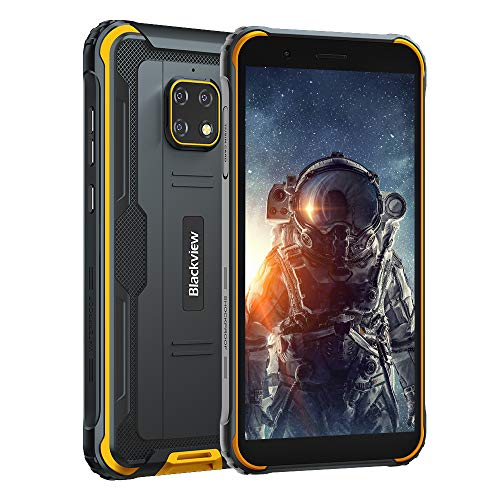 "Móvil Resistente 4G, Blackview BV4900 Android 10 Impermeable Smartphone IP68, 5.7"" HD+, Batería 5580mAh, 32GB+3GB (SD 128GB), 8MP+5MP, Teléfono Robusto, Dual SIM,GPS,NFC,OTG- Amarillo"