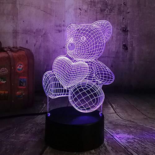 shiyueNB Mignon Enfant Cadeau De Noël USB Little Lovely Heart Bear 3D LED RGB Nuit Lumière Atmosphère Bureau Table Lampe Filles Bébé Chambre Décor