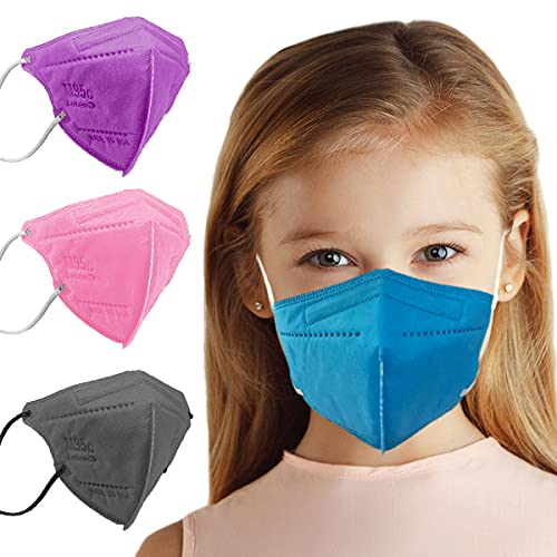 5 Layer Protection Breathable Kids Face Mask (Sapphire Blue) - Made in USA - Designed for Children   Filtration95% with Comfortable Elastic Ear Loop   Bandanna Replacement (20 pcs)