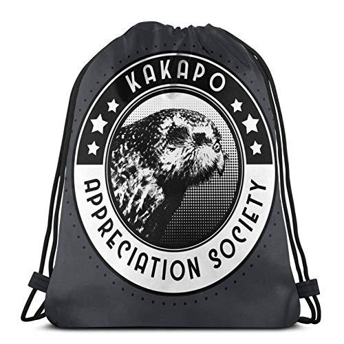 LREFON Mochila Saco Sociedad de apreciación de Kakapo Logo-Mochila Saco-Negro