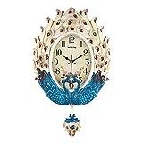 Lafocuse 55.5 * 36 cm Reloj de Pared Grande de Pavo Real Beige y Turquesa con Péndulo Reloj Cuarzo Elegante Vintage Silencioso Decorativo para Salon Comedor