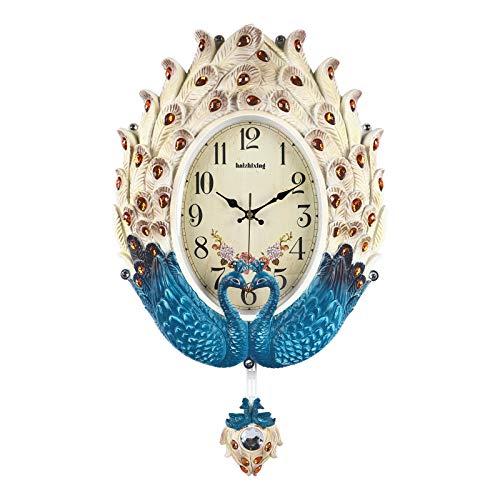 Lafocuse Groß Beige und Blaugrün Pfau Wanduhr mit Pendel Luxus Quarzuhr Elegant Kunst Deko für Wohnzimmer Schlafzimmer 55.5 * 36 cm