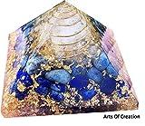 Arts Of Creation Lapis Lazuli Crystal Orgone Pyramid EMF Protection Meditation Yoga Energy Generator Reiki Charged Natural Raw Chakra Healing Orgone Pyramid
