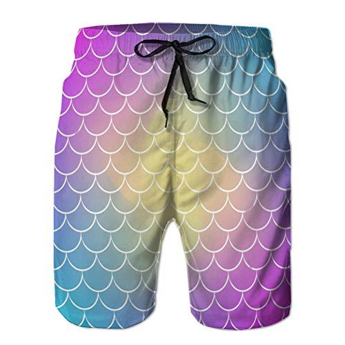 Xunulyn - Pantalones cortos de playa de secado rápido para hombre, diseño de degradado de fondo cuadrado