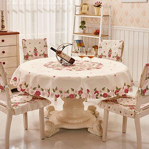 Nappe européenne Chiffon de table en tissu rond brodé couverture de nappe européenne serviette linge de table (taille : Round-145cm)