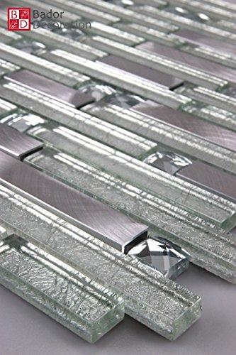Mosaikmuster Mosaike Glasmosaik Mosaikfliesen Glasfliesen Mosaik Glas Aluminium gebürstet neu 30x15cm
