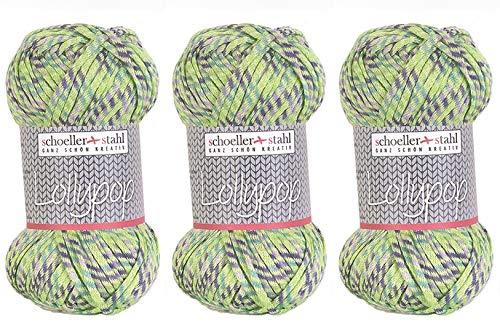 Schoeller und Stahl Sparset 3 Stück Lollypop Multi-Effekt-Wolle - Handstrickgarn in Vitamin