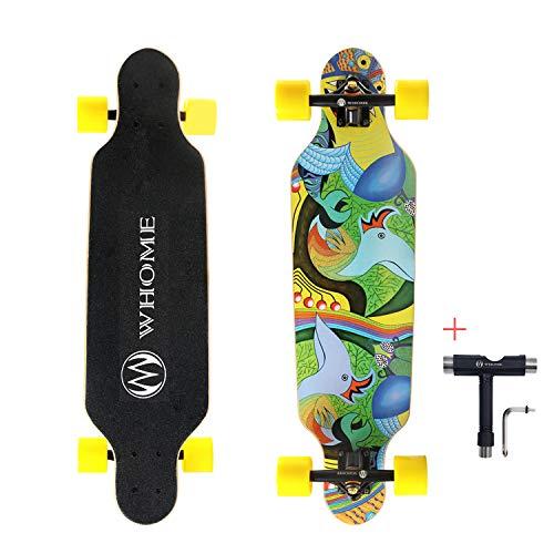 WHOME Longboard, 78,7 cm, für Erwachsene, Jugendliche, Kinder, Anfänger, Mädchen und Jungen, T-Tool enthalten