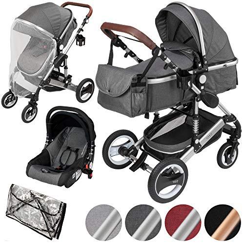 ib style® SOLE 3 in 1 Kombi Kinderwagen | inkl. Auto Babyschale | Zusammenklappbar | inkl. Regen- & Mückenschutz | 0-15kg |GRAU