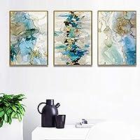 ポスター大理石ゴールドブルーグリーンキャンバス絵画ポスターとプリント壁の写真幾何学的なプリントリビングルームの装飾60x80cmx3フレームレス