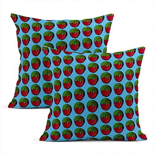 Xincow Set of 2 Throw Pillow Covers Plant Berry Gummy Strawberry Blue Background Hand Painted Home Durable Decorative Linen Pillowcases Square Cushion Covers for Sofa 20x20 Inches