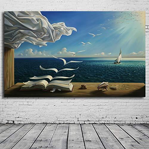 Karen Max, 1 pezzo su tela da parete, immagine di Salvador Dali, stampa artistica su tela, poster The Waves Book Sailboat Picture Canvas Painting Diary of Discovery by Vladimir Kush 40x60inch No Frame