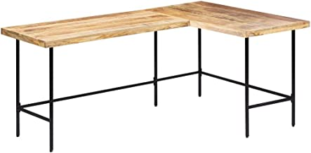 vidaXL Solid Mango Wood Desk Steel Leg L-Shaped Writing Table PC Computer Notebook Workstation Corner Study Desk Home Offi...