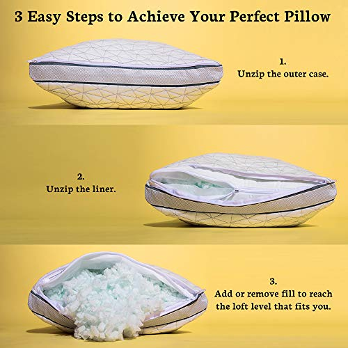 Coop Home Goods – Shredded Memory Foam with Zippered Cover and Adjustable Hypoallergenic Cooling Gel Infused Memory Foam Fill – Eden Pillow – Single – Queen - White