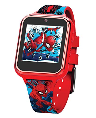 Accutime Kinder Smartwatch Spider-Man, Kinderuhr mit Selfie Kamera, Foto & Video, Stoppuhr, 6 Spiele, 3 Hintergründe, 10 Zifferblätter, Diktiergerät, Fitness Tracker Uhr, Wecker SPD4588