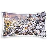 Rurutong, federa per cuscino natalizio con albero di neve, corallo, stampa su un lato, per letto, divano, divano, federa quadrata, decorazione per casa, auto, 20 x 12