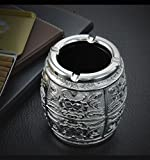 sheng Cenicero artículos de hogar clásico de lujo de estilo europeo sala de estar oficina cenicero de metal mesa de centro de metal ( Color : La Plata )