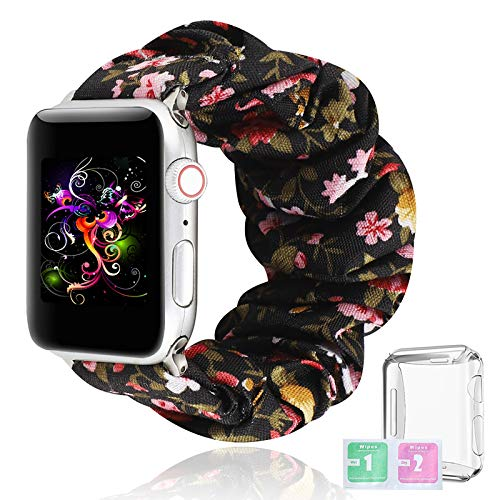 Bandas De Reloj De Scrunchie con Apple Watch Band Lavable Suave Pulseras De Repuesto con Carcasa Protectora Y Película No Te Desvanezcas Scrunchie Estampada Correa para Mujer