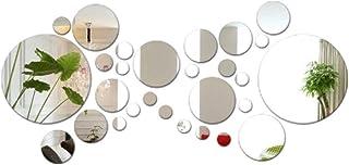 JNCH 28pcs Stickers Muraux Miroirs Rond Décoratifs Cercle Miroir Autocollant 3D Acrylique Deco Mural Amovible pour Salon C...