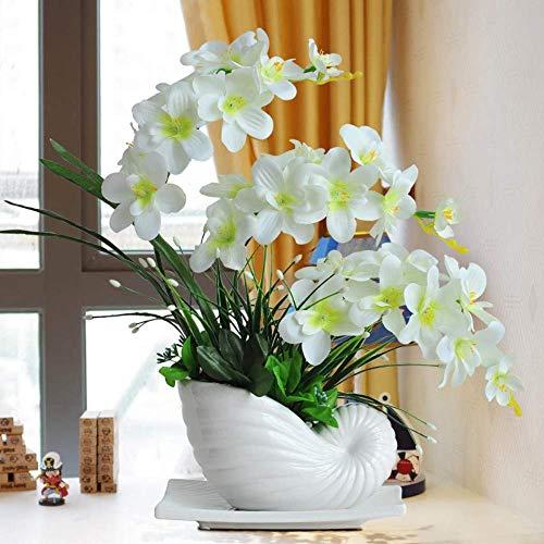 Kunstbloem Orchidee in Keramische vaas Wit Bloempot met vaas Home Decor in Kunstmatige Latex Touch Bloem (Kleur 3)