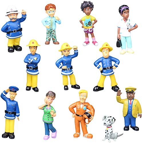 JPYH Mini Figure Pompiere per Cupcake,12 PCS Decorazione Torta Pompiere, Pompiere Collezione, Pompiere Toppers per Torta,Action Figure Pompiere, Regali per Feste di Compleanno per Bambini