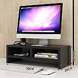 Monitor Soporte de elevador para el escritorio con almacenamiento, 2 niveles de madera Monitor de computadora Riser ajustable altura, soporte de estante para almacenamiento de escritorio y organizació