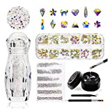 Crystal AB Rhinestones Set, 1 Bottle of Ultra Mini 1.2mm Micro Rhinestones for 3D Nail Art, Mixed Iridescent AB Crystal Glass Beads with Silver/Gold Flat Back, Glue & Tools Included