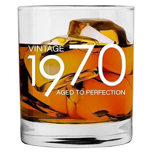 ANVPI 1970 50e verjaardagscadeaus voor mannen vrouwen 11 oz Whiskey Bourbon Lowball Glas Grappige Vintage 50 jaar oud cadeau cadeau cadeau-ideeën voor hem vader man verjaardag Kerstmis Whisky Bril Party Decoraties